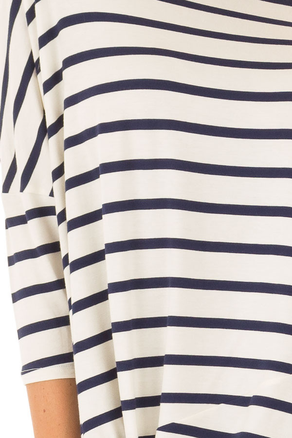 Navy Striped Off the Shoulder Dolman Top with Tie Detail detail