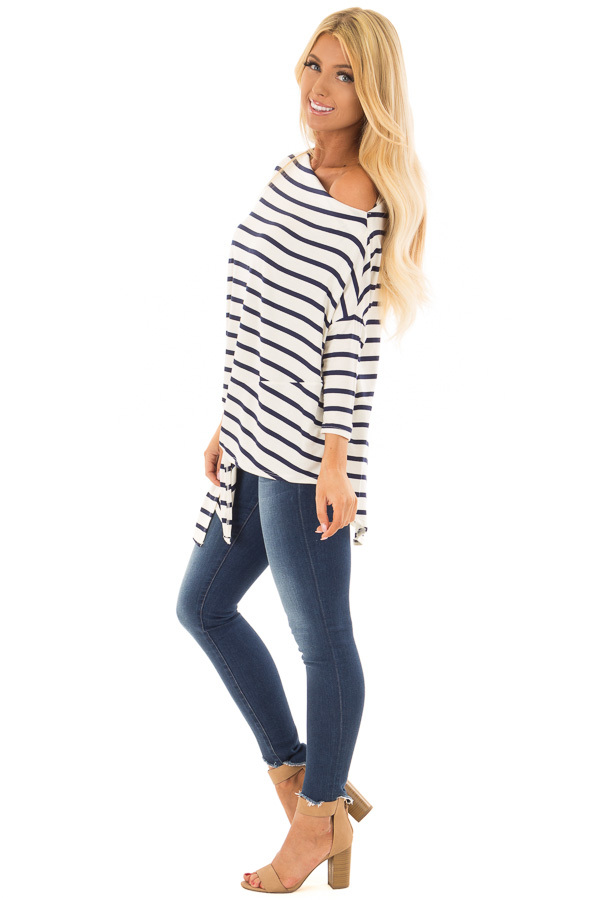 Navy Striped Off the Shoulder Dolman Top with Tie Detail side full body