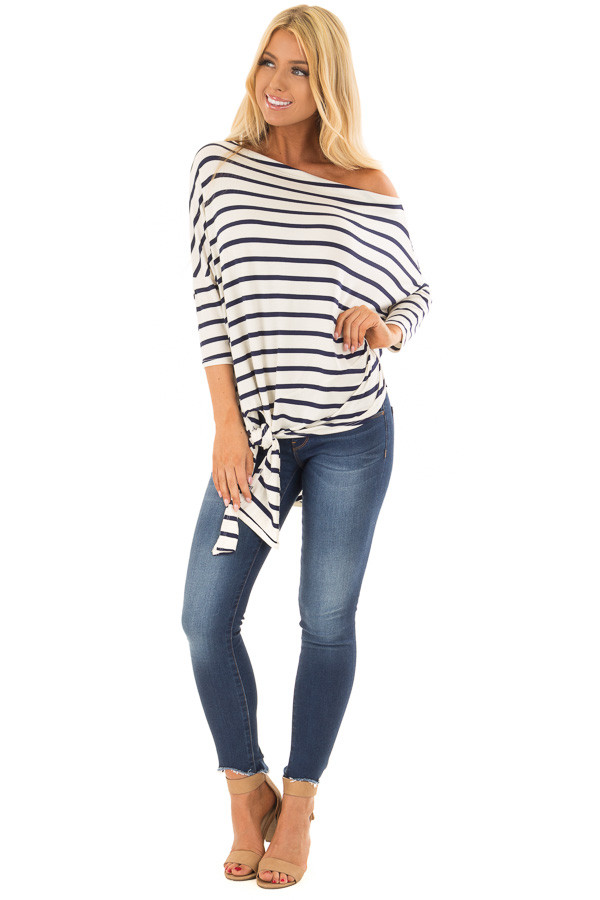 Navy Striped Off the Shoulder Dolman Top with Tie Detail front full body
