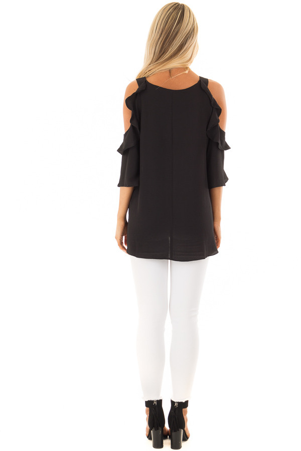 Black Cold Shoulder 3/4 Sleeve Top with Ruffle Detail back full body