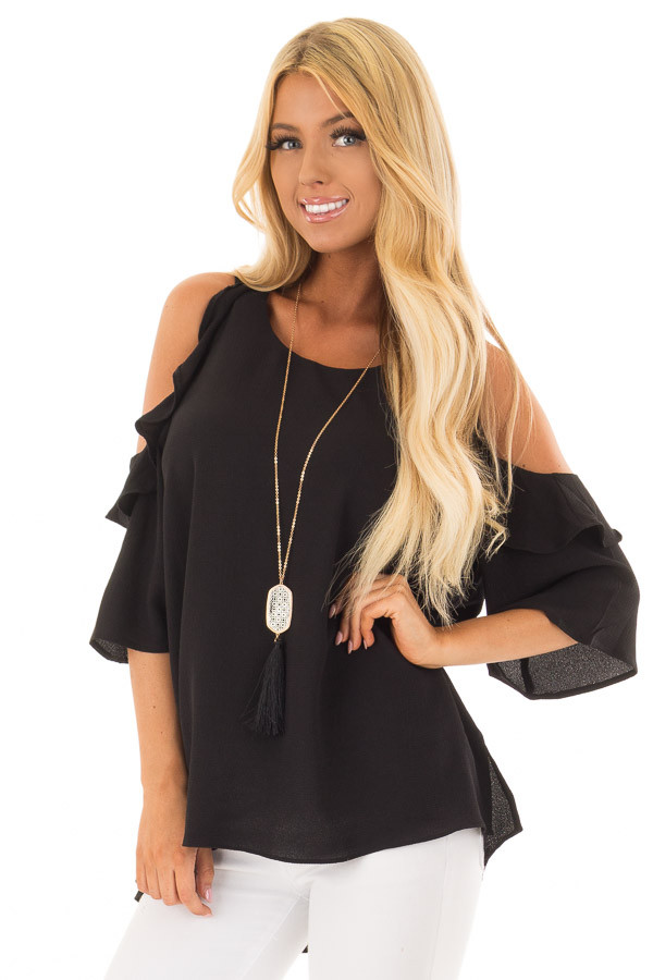 Black Cold Shoulder 3/4 Sleeve Top with Ruffle Detail front close up