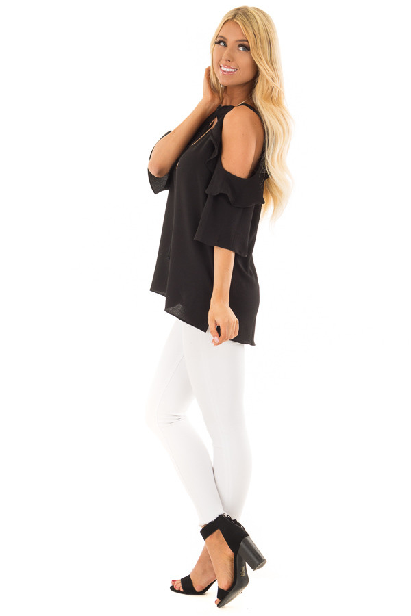 Black Cold Shoulder 3/4 Sleeve Top with Ruffle Detail side full body