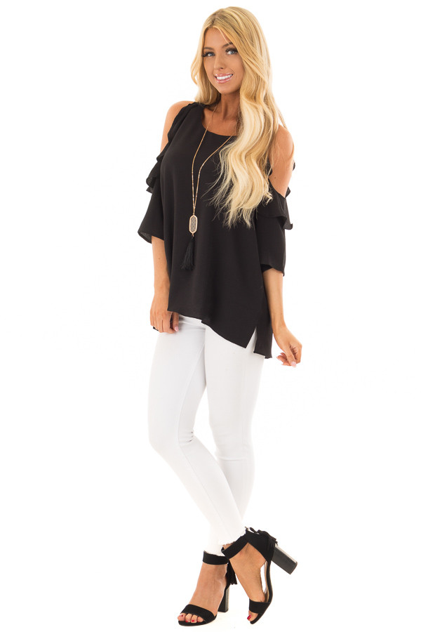 Black Cold Shoulder 3/4 Sleeve Top with Ruffle Detail front full body