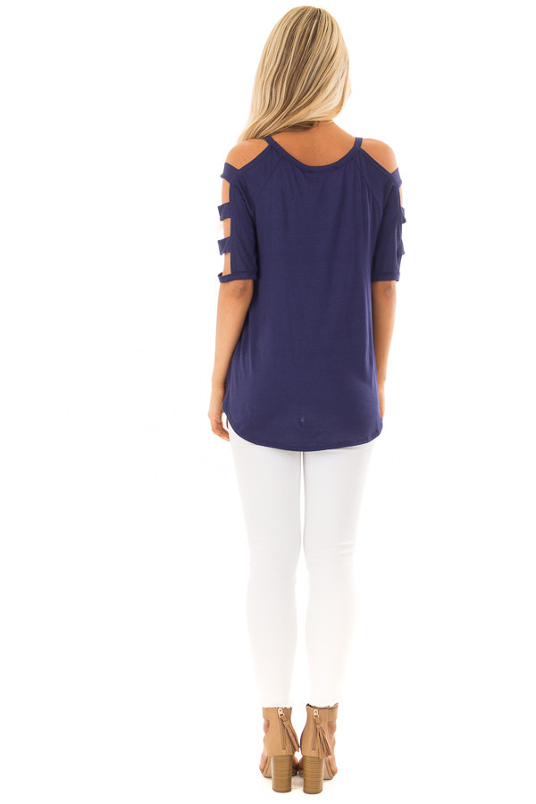 Navy Tee Shirt with Short Ladder Cut Sleeves back full body