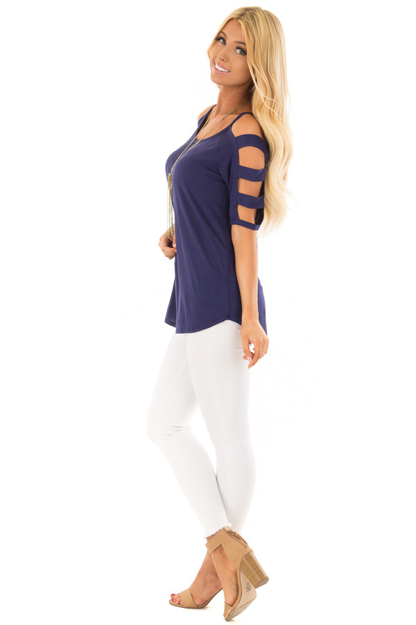 Navy Tee Shirt with Short Ladder Cut Sleeves side full body