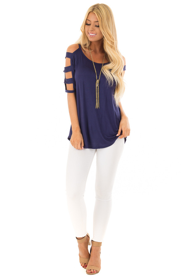 Navy Tee Shirt with Short Ladder Cut Sleeves front full body