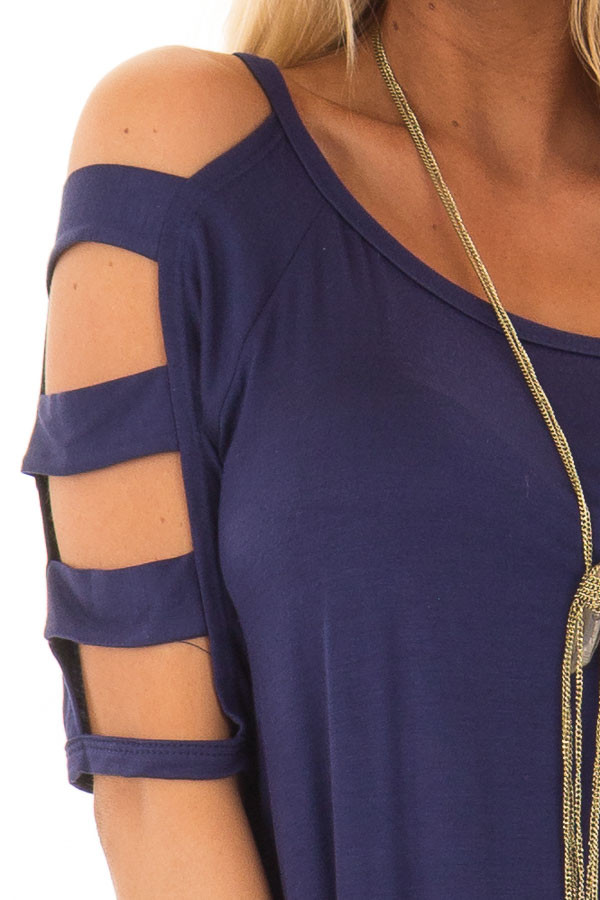 Navy Tee Shirt with Short Ladder Cut Sleeves detail