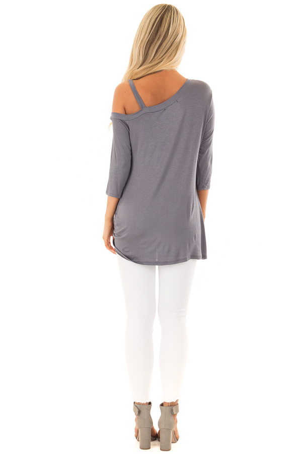 Charcoal Cold Shoulder Tee with Front Twist Detail back full body