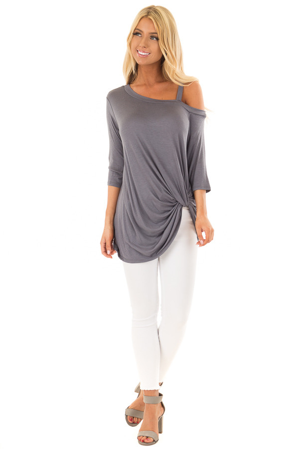 Charcoal Cold Shoulder Tee with Front Twist Detail front full body