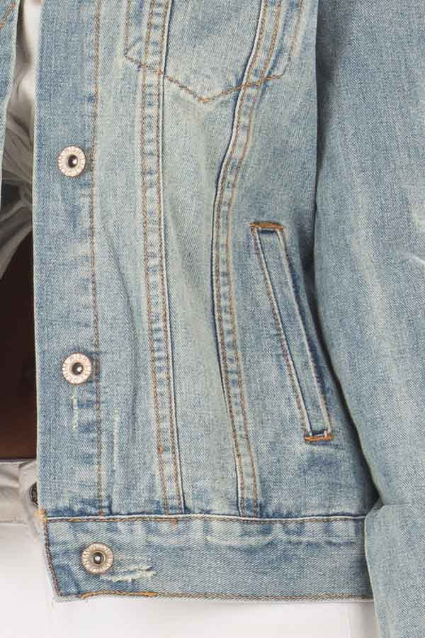 Light Wash Denim Button Up Jacket with Pockets detail
