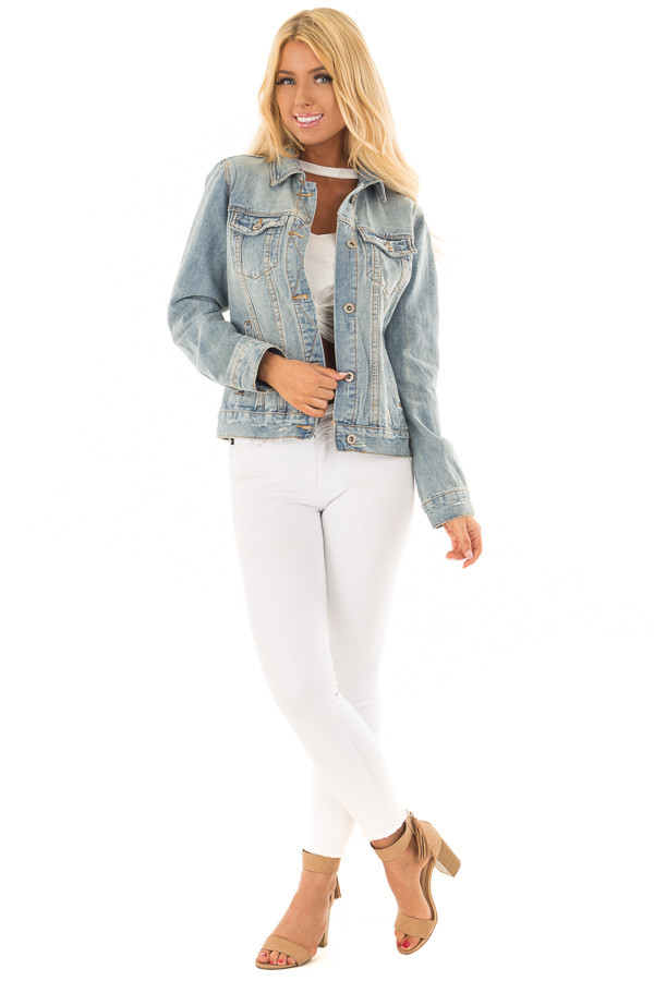 Light Wash Denim Button Up Jacket with Pockets front full body