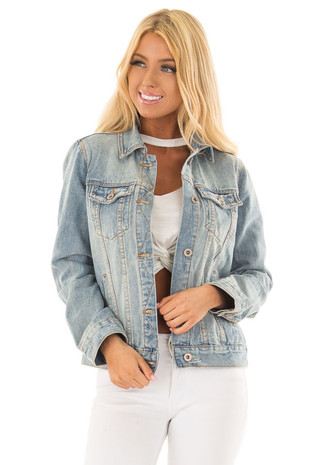 Light Wash Denim Button Up Jacket with Pockets front close up