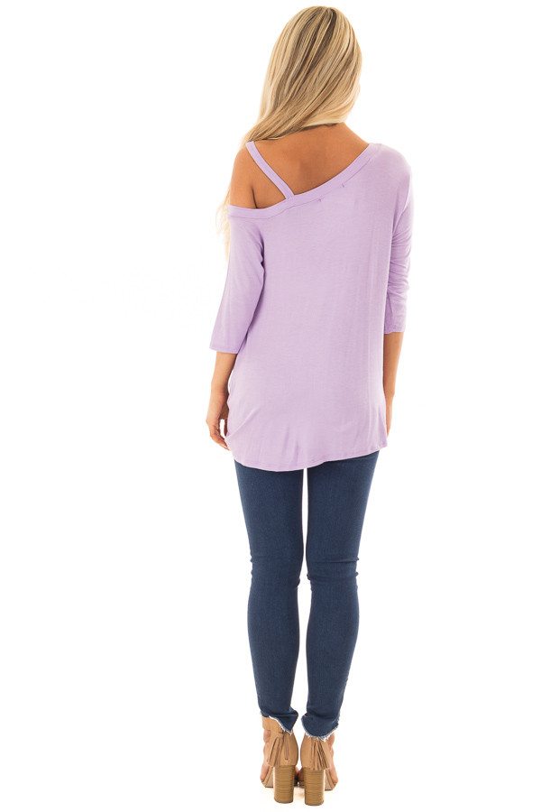 Lavender Cold Shoulder Tee with Front Twist Detail back full body