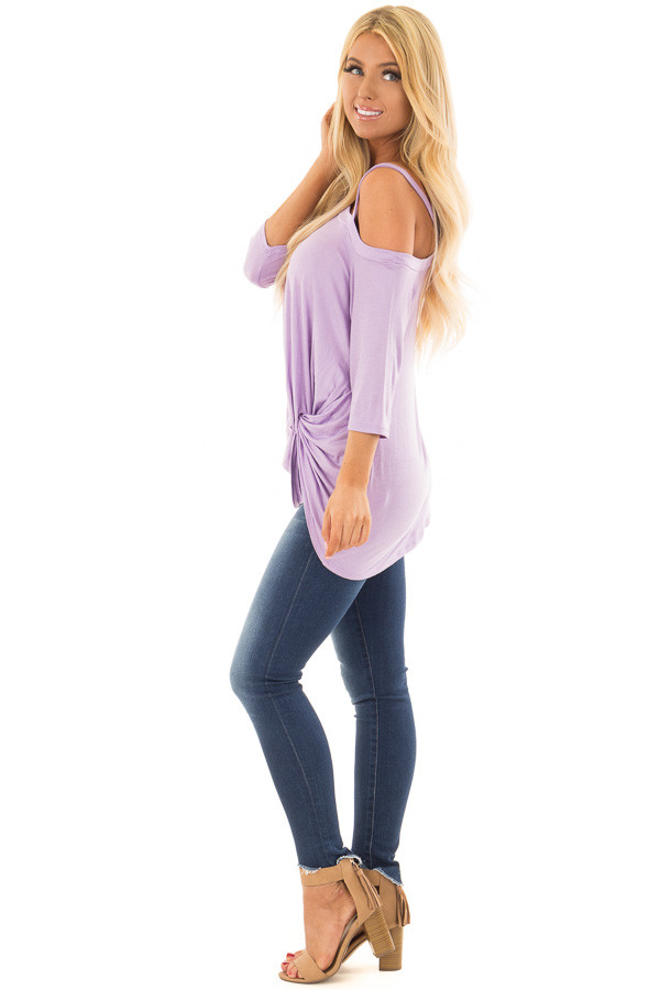 Lavender Cold Shoulder Tee with Front Twist Detail side full body