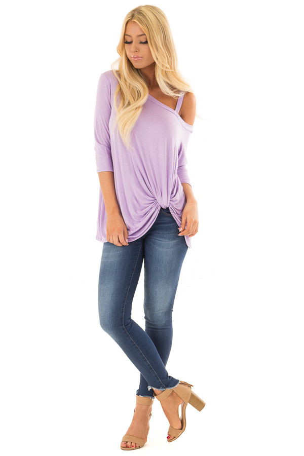 Lavender Cold Shoulder Tee with Front Twist Detail front full body