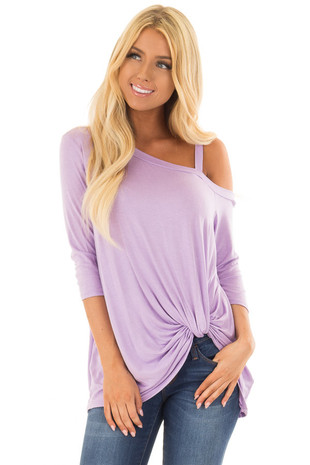 Lavender Cold Shoulder Tee with Front Twist Detail front close up