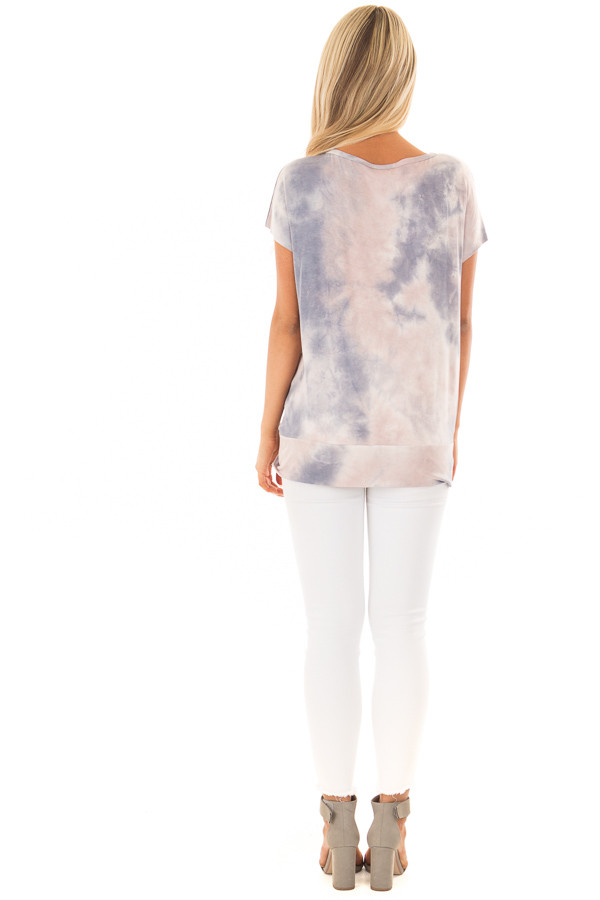 Blush and Navy Tie Dye Short Sleeve Top with Gathered Detail back full body