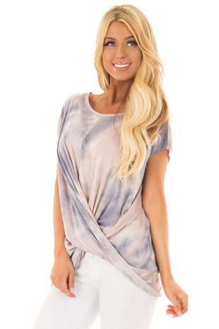 Blush and Navy Tie Dye Short Sleeve Top with Gathered Detail front close up