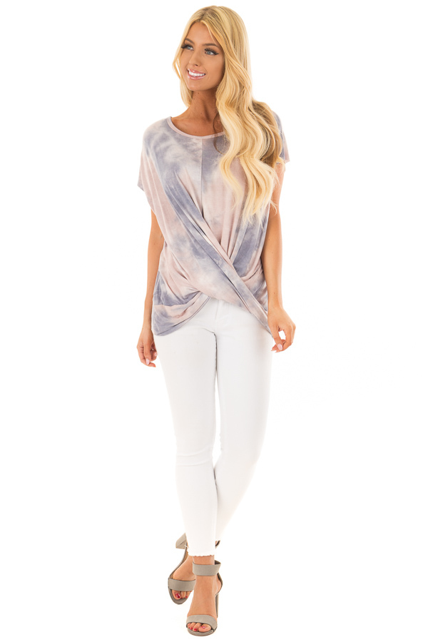 Blush and Navy Tie Dye Short Sleeve Top with Gathered Detail front full body