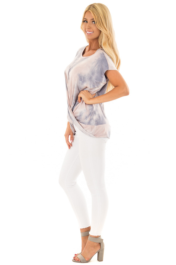 Blush and Navy Tie Dye Short Sleeve Top with Gathered Detail side full body