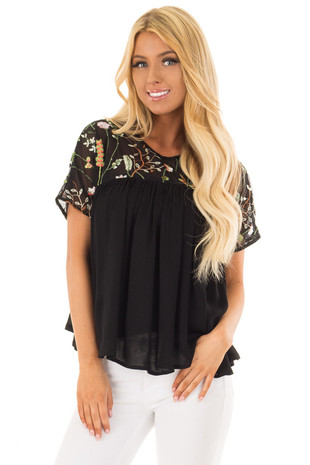 Black Short Sleeve Blouse with Sheer Embroidered Yoke front close up