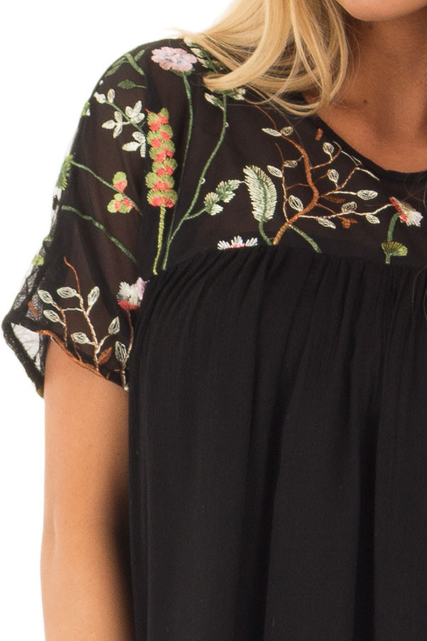 Black Short Sleeve Blouse with Sheer Embroidered Yoke detail