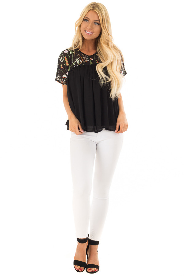 Black Short Sleeve Blouse with Sheer Embroidered Yoke front full body