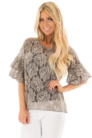 Charcoal Sheer Lace Blouse with Short Layered Bell Sleeves front close up