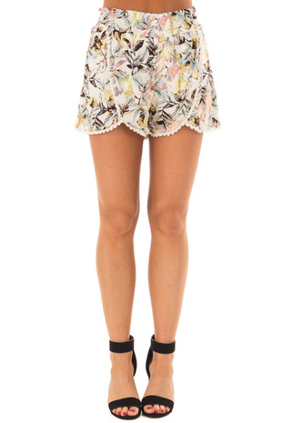 Taupe Tropical Print Shorts with Crochet Trim front view