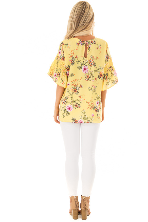 Pineapple Yellow Floral Print Top with Bell Sleeves back full body