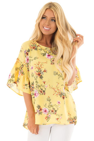 Pineapple Yellow Floral Print Top with Bell Sleeves front close up