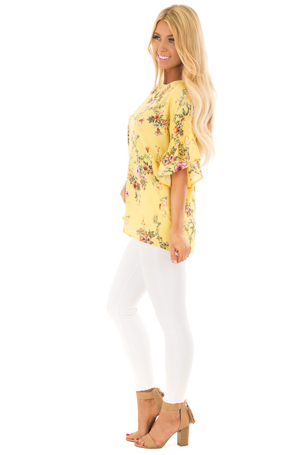 Pineapple Yellow Floral Print Top with Bell Sleeves side full body
