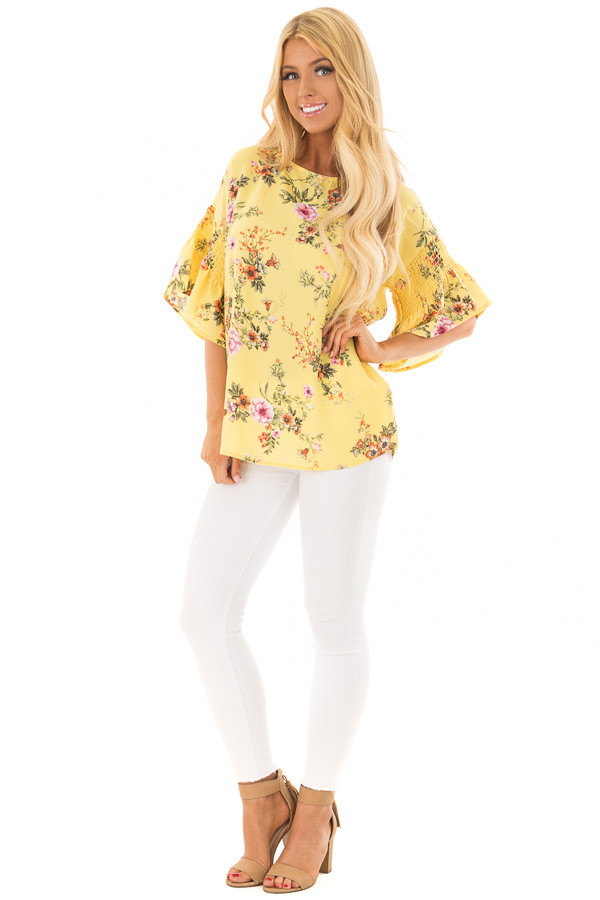 Pineapple Yellow Floral Print Top with Bell Sleeves front full body