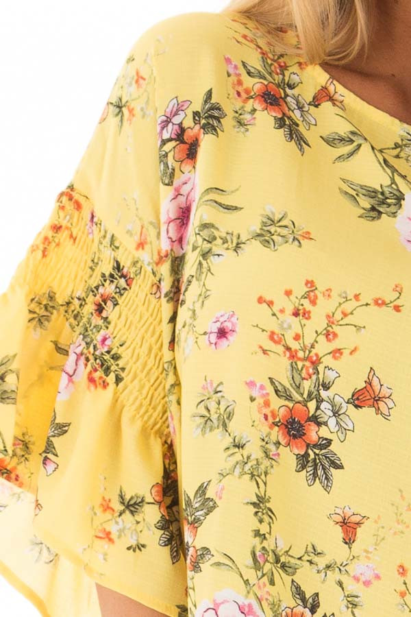 Pineapple Yellow Floral Print Top with Bell Sleeves detail