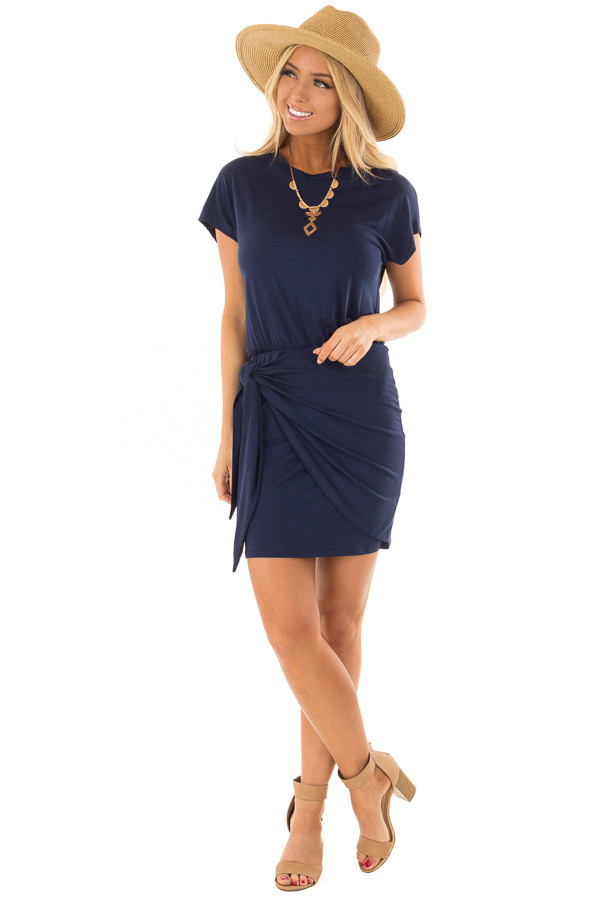 Navy Short Sleeve Dress with Wrap Style Tie Skirt front full body
