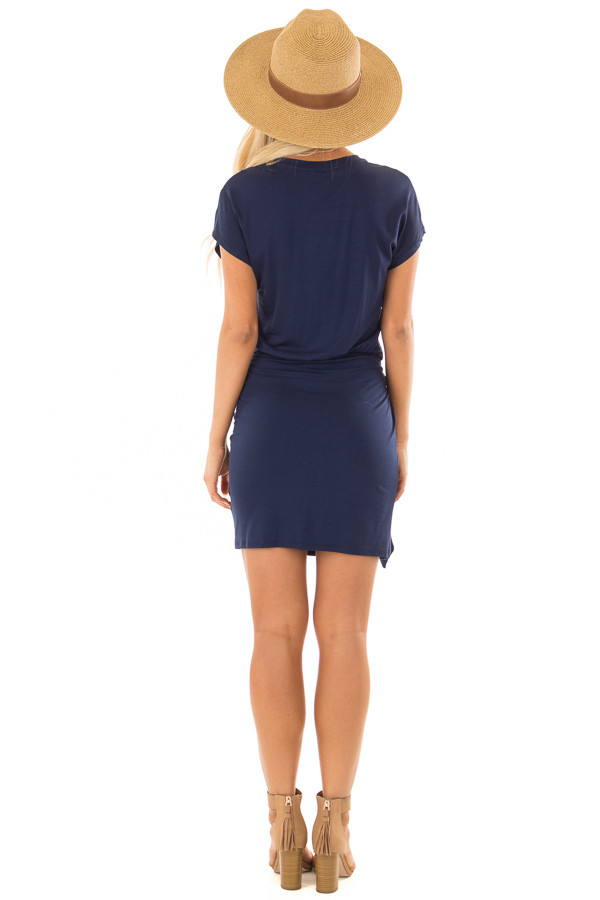 Navy Short Sleeve Dress with Wrap Style Tie Skirt back full body