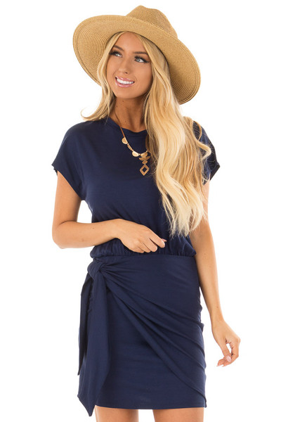 Navy Short Sleeve Dress with Wrap Style Tie Skirt front close up