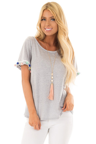 Heather Grey T-Shirt with Pom Pom Trim Detail front close up
