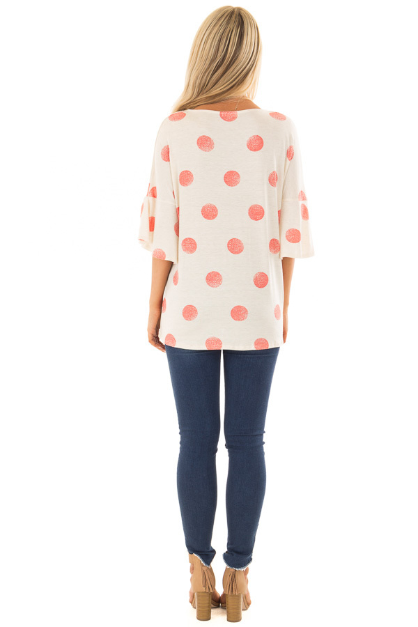Oatmeal Short Sleeve Bell Sleeve Top with Peach Polka Dots back full body