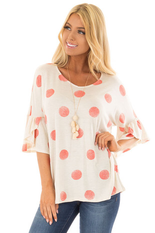 Oatmeal Short Sleeve Bell Sleeve Top with Peach Polka Dots front full body
