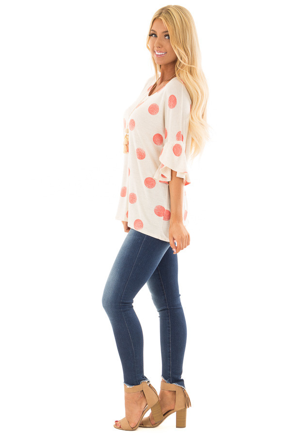 Oatmeal Short Sleeve Bell Sleeve Top with Peach Polka Dots side full body