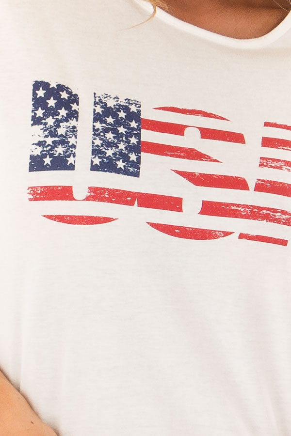 Off White Faded USA Cropped Tee Shirt detail