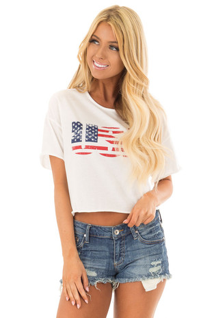 Off White Faded USA Cropped Tee Shirt front close up