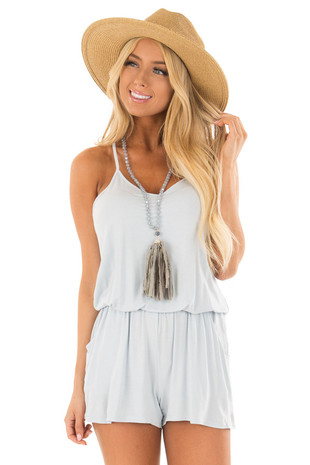 Arctic Blue V Neck Romper with Side Pockets front close up