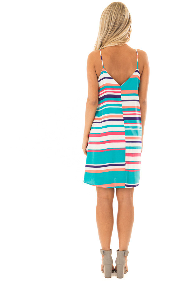 Multicolor Striped Swing Dress with Side Pockets back full body
