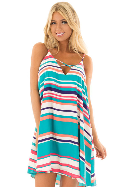 Multicolor Striped Swing Dress with Side Pockets front close up