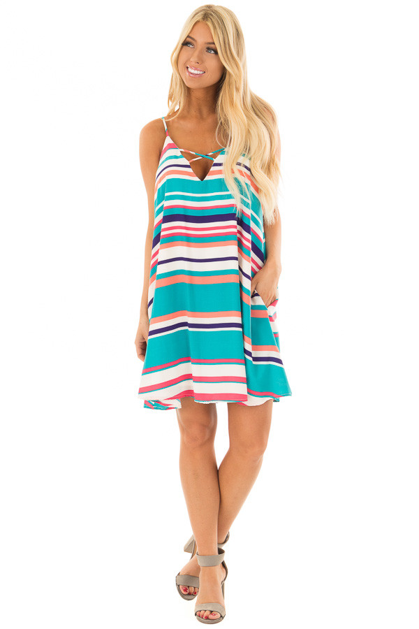 Multicolor Striped Swing Dress with Side Pockets front full body