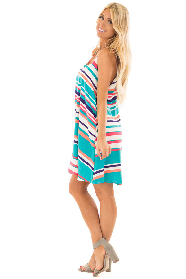 Multicolor Striped Swing Dress with Side Pockets side full body
