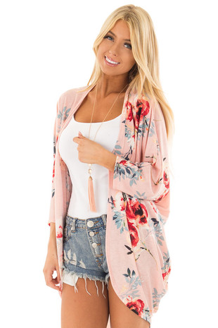 Blush Floral Print Cardigan with Dolman Sleeves front close up