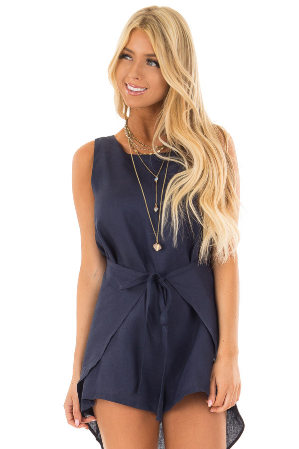 Navy Wrap Style Romper with Front Tie Detail front close up